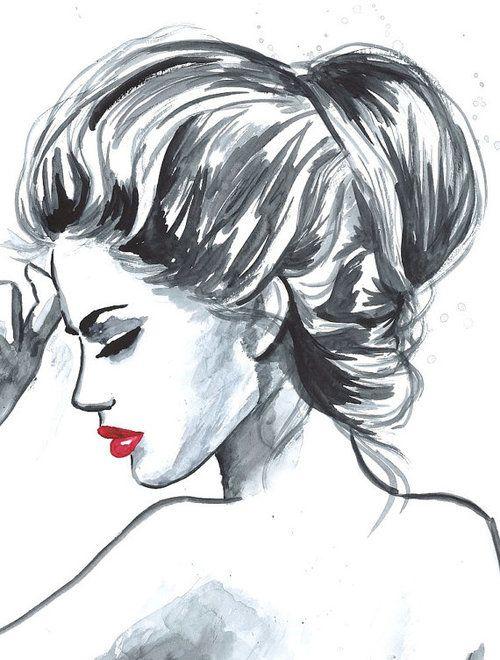 pensativa de labios rojos