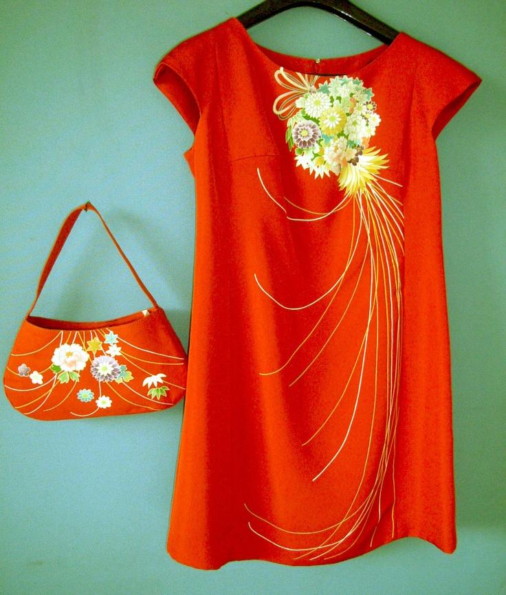 002// dress and bag// made from kimono fabric