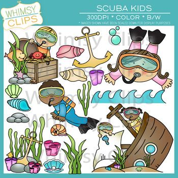 The scuba kids clip art pack is fun and colorful. There are 55 image files in this pack per png and jpg formats, which includes 28 color images and 27 black and white images. All images are 300dpi for better scaling and printing. $