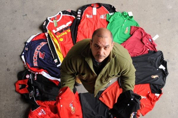 TAKEN: Global Brand Protection national operations manager Carl Donadio with clothing seized at the Ballarat Trash 'n' Trivia market yesterd...