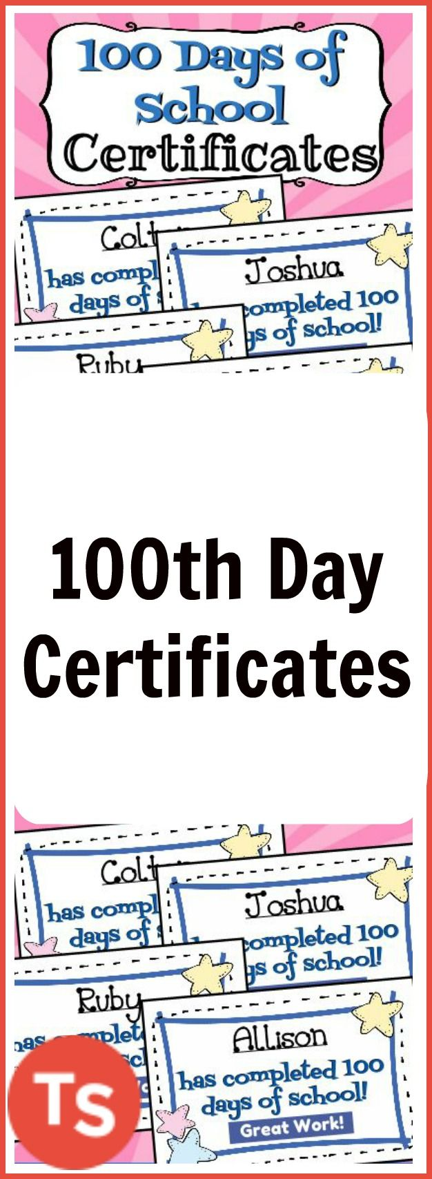 Best 25 website certificate ideas on pinterest certificate of celebrate your students hard work over the last 100 days by giving each student their xflitez Images