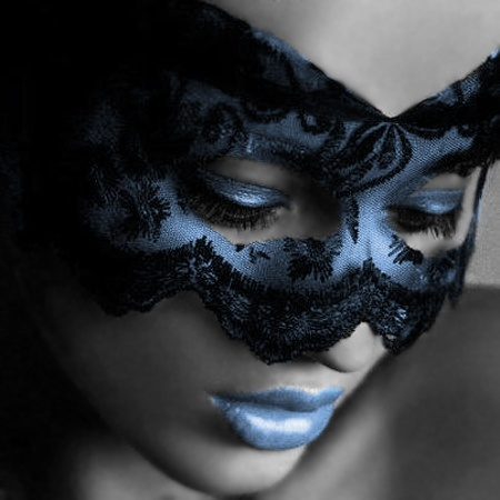 Thinking of my model ;) (you know who you are).. Black lacey mask, dark red lips, pale face makeup, similar shadowing and angles as this photo