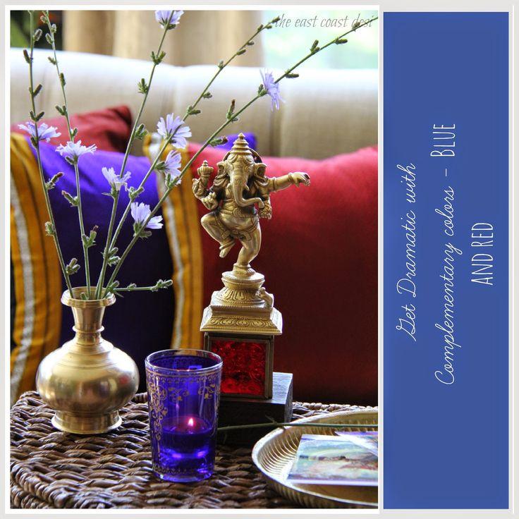 Dramatic color palette, brass Ganesha, Indian festive decor