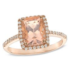 Cushion-Cut Morganite and 0.17 CT. T.W. Diamond Frame Ring in 10K Rose Gold  - Peoples Jewellers