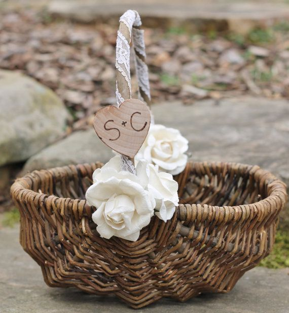 Rustic Flower Girl Basket Personalized 6 Paper by MichelesCottage, $46.00