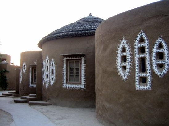 Decorated Indian Mud huts, inspiration for guest house.
