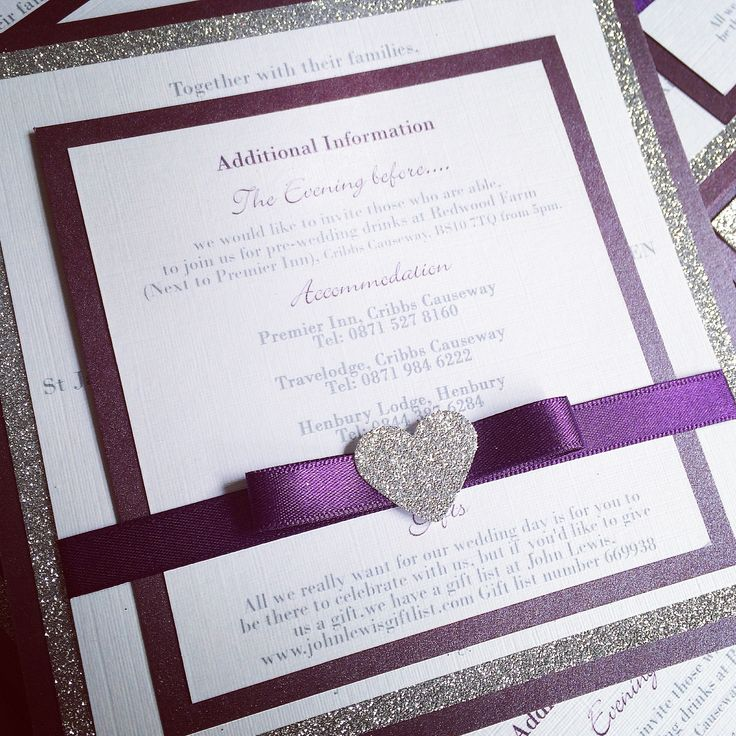 wedding invitation tied with ribbon%0A Glitter Heart wedding invitations and stationery in aubergine egg plant