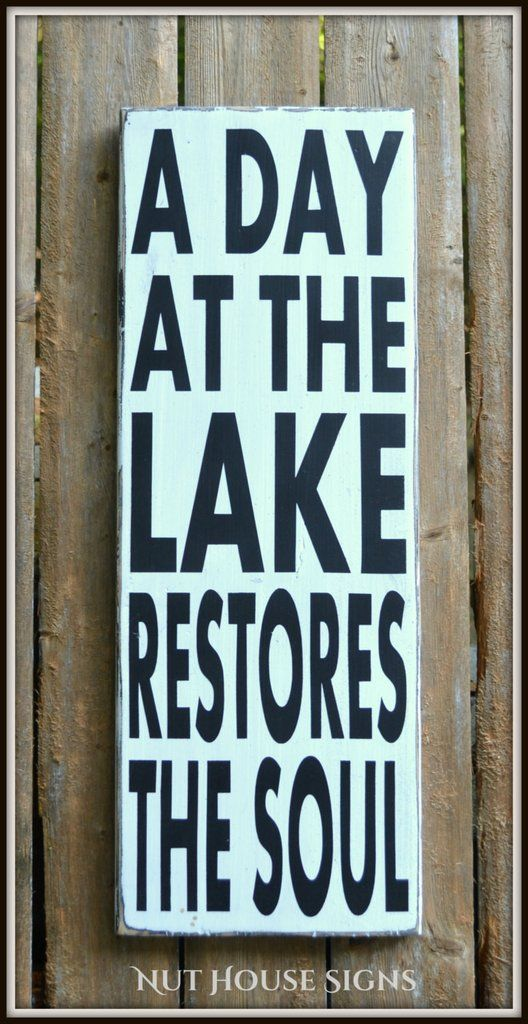 Lake Decor Lake Signs Lake House Wall Art Wood Sign Rustic Home Signage Lake Life Summer Gift Quote Hand Painting Wooden Plaque River Cabin