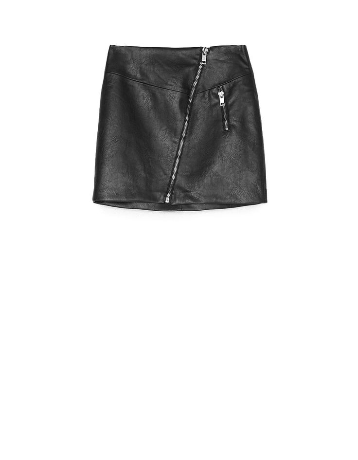 At Stradivarius you'll find 1 Faux leather skirt with diagonal zip for just 19.99 France . Visit now to discover this and more Skirts.