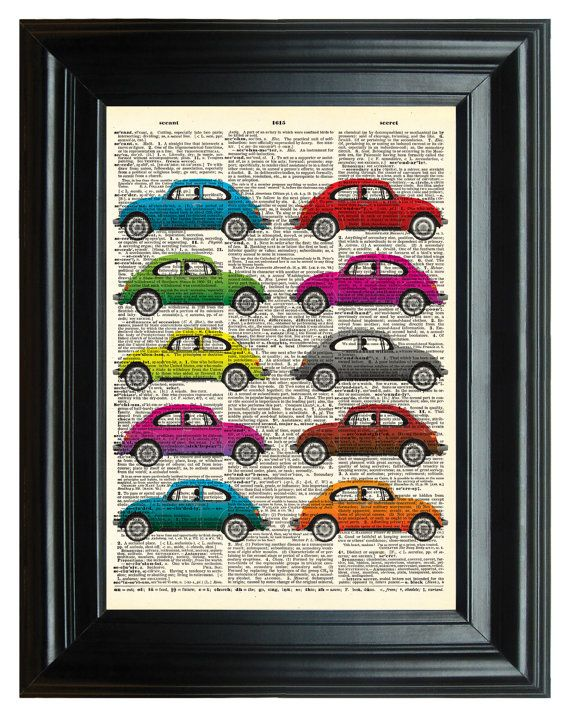 Volkswagon Bugs Vintage Print, VINTAGE DICTIONARY PRINT, dictionary page, Upcycled dictionary art print, transportation 8.25x11.25 num. 20 on Etsy, $9.50