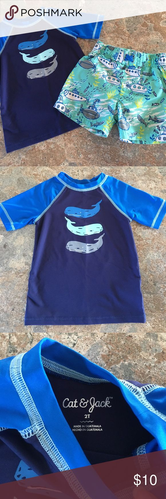 Cat and Jack toddler boy swim set! In good used condition! Whale rash guard shirt is in excellent condition it was hardly worn. Swim shorts are more used and have wear to the back side at bum area as pictured. Has some piling to shorts as well. Shorts are also lined. Both Cat and Jack from target size 2T Cat & Jack Swim Swim Trunks
