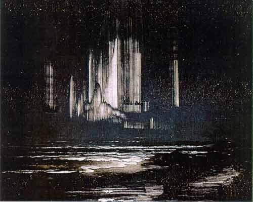 'The Northern Lights', oil on panel by Peder Balke (Norwegian, ca. 1845)