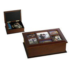 Melannco 6 Opening Espresso Photo Storage Box by MELANNCO. $28.99. Box has glass. Holds one 5 by 5-1/2-inch, one 5 by 2-1/2-inch, two 3-3/4 by 4-3/4-inch and two 3-3/4 by 3-1/2-inch photos. Box is mdf with a hinge lid. This beautifully crafted espresso photo storage box holds six photos on the cover - one 5 by 5-1/2, one 5 by 2-1/2, two 3-3/4 by 4-1/2, two 3-3/4 by 3-1/2. Box has a hinged lid.. Save 45%!