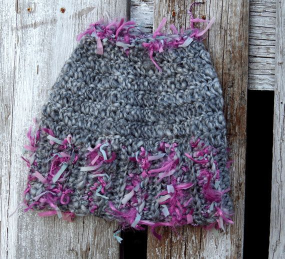 Messy bun beanie Grey Pink Women Hat Winter messy bun by Degra2