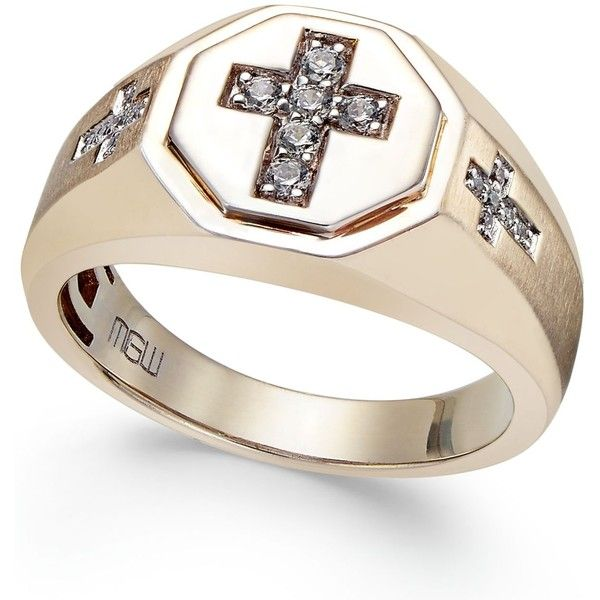 Men's Diamond Cross Ring (1/5 ct. t.w.) in 10k Gold ($1,650) ❤ liked on Polyvore featuring men's fashion, men's jewelry, men's rings, yellow gold, mens gold diamond rings, mens gold rings, mens rings, mens watches jewelry and mens yellow gold diamond rings