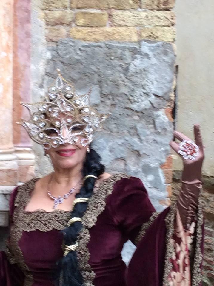 carnevale di venezia/  26/2/2014 /  campo San Zaccaria /  costume medioevle in velluto e seta la maschera di Swarovski che rappresenta la natura