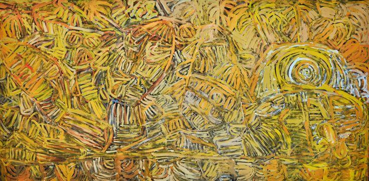 "Sonia Kurarra, ""Barramundi swimming,"" 2014, acrylic on linen, 240 x 120 cm. Mangkaja Arts, Aboriginal and Pacific Arts, Sydney."