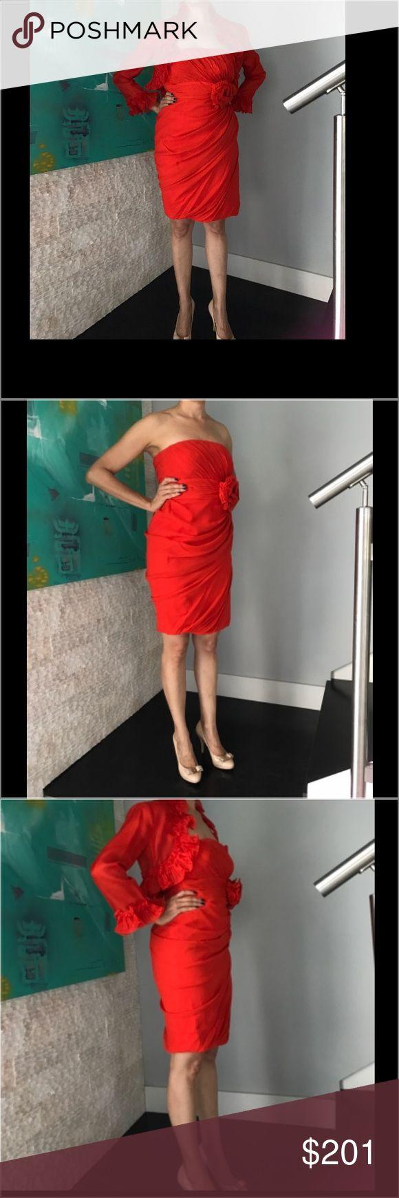 STYLE OBSESSION 👠👢👛Valentino couture silk dress All silk rich valentino red. Bolero and dress set. Size 42 Valentino Dresses Strapless