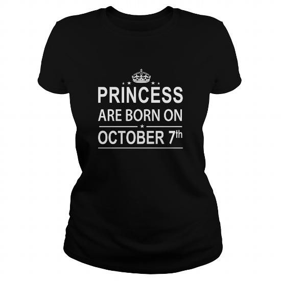 Cool 1007 October 7 Birthday Shirts Princess Born T Shirt Hoodie Shirt VNeck Shirt Sweat Shirt Youth Tee for Girl and Men and Family T-Shirts