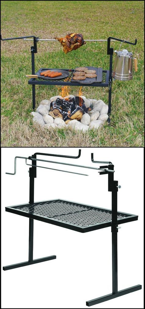 """http://amzn.to/1YSTSGe Looking for a nice camping grill that's easy to bring on your outdoor adventures? Then you have to try this stainless steel rotisserie spit and grill. Its rotisserie spit that turns and locks in four positions, to give you that delicious slow-roasted flavour in your food. It has a height-adjustable 24"""" x 16"""" grilling surface and a similarly height-adjustable stainless steel rotisserie spit. It also includes two steel side arms to keep potted food warm."""