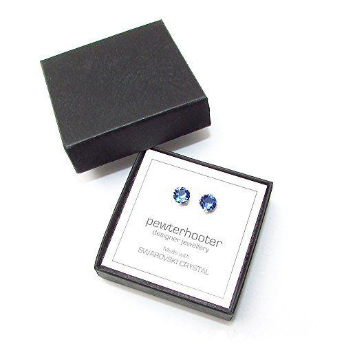 Men's Silver Stud Earrings set with Sapphire Blue Swarovski Crystal Stones. Gift…