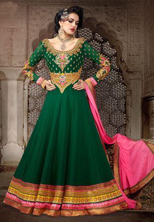 Dark Green Faux Georgette Abaya Style Churidar Kameez
