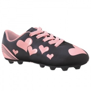 SALE - Trax Pink Hearts Soccer Cleats Kids Black Synthetic - Was $20.99 - SAVE $3.00. BUY Now - ONLY $17.99