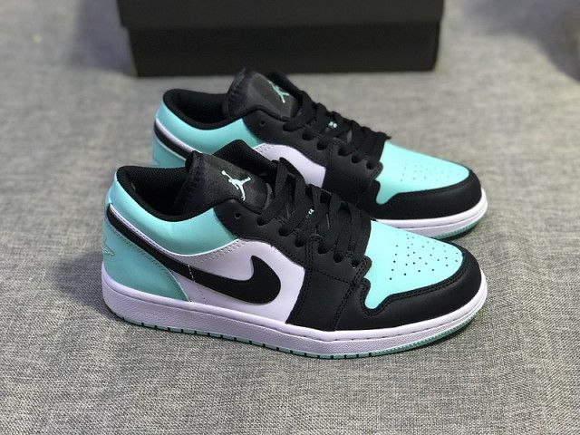 Air Jordan 1 Low Emerald Toe Rise Black 553558 117 Womens ...