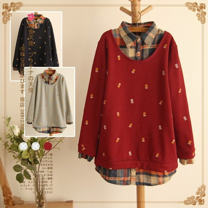 Women clothing Winter small pineapple printing plus size women loose line leave two backing Plaid casual tshirt woman coat DM316-in T-Shirts from Women's Clothing & Accessories on Aliexpress.com | Alibaba Group