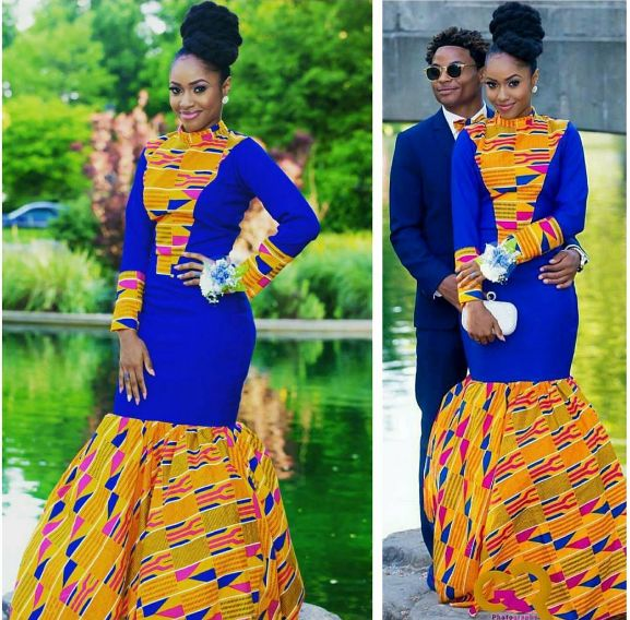 This stunning kente cloth dress. | 18 Beautiful African Prom Dresses That'll Give You Goals