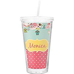 Easter Birdhouses Double Wall Tumbler with Straw (Personalized)