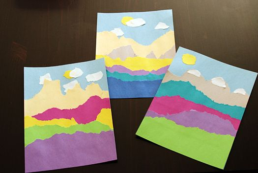 My youngest would love to do this - torn paper landscape from @Marie - Make and Takes