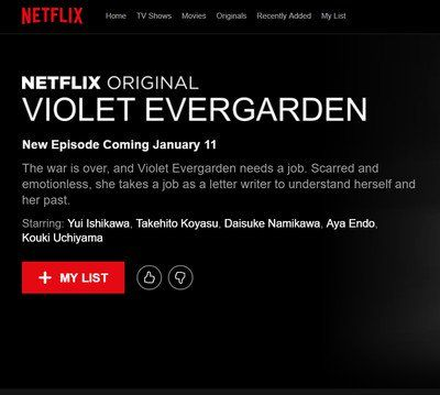 Netflix Lists Violet Evergarden Anime in Some Countries on January 11, But Anime's Site Still Lists Spring