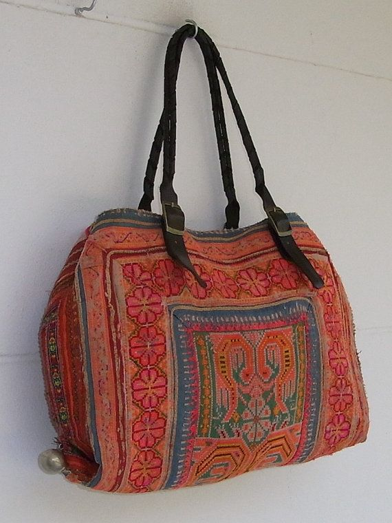 EXPANDABLE TOTE Handbag Vintage Hmong Fabric by EthnicLanna, Love Hmong. made purses