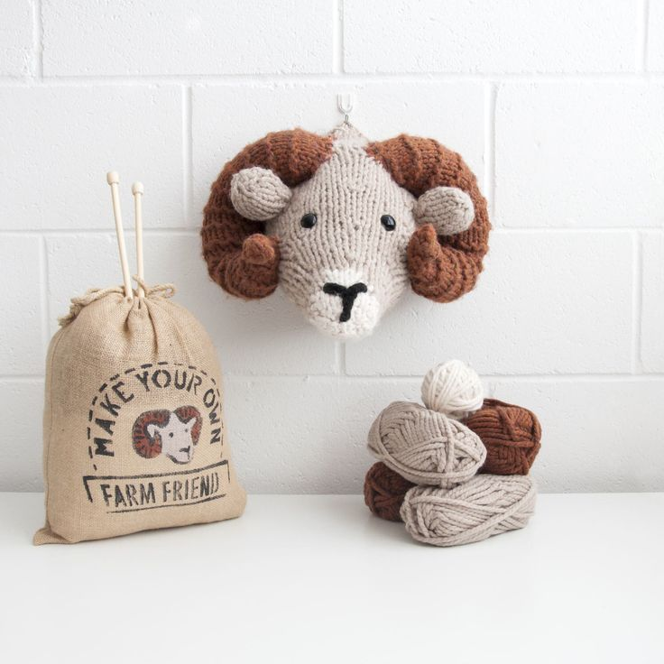 Faux Ram Knitting Kit - Make Your Own Farm Friend- DIY Trophy Head by sincerelylouise on Etsy https://www.etsy.com/listing/273967072/faux-ram-knitting-kit-make-your-own-farm