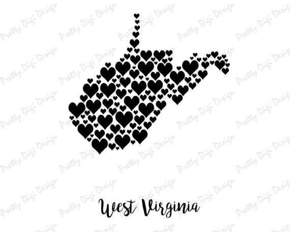 West Virginia digital heart map jpg, png, pdf, eps, West Virginia wall art, West Virginia shape with hearts, West Virginia home state art