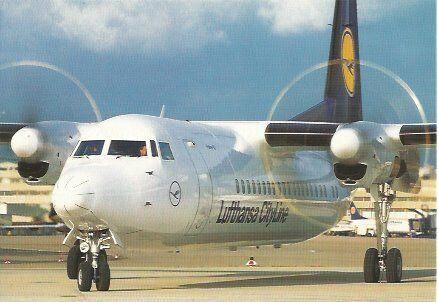 Lufthansa Cityline Fokker 50 Postcard
