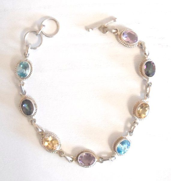 Christmas Gift - A 925 STERLING SILVER Multi Gem Set BRACELET - Boxed by AntiquesEtCetera13 on Etsy