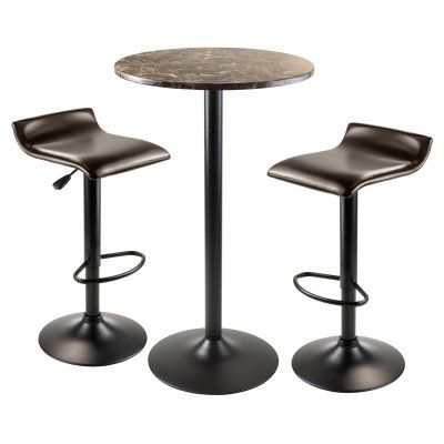 Winsome Trading Cora 3 Piece Round Pub Table Set - Black - 76383