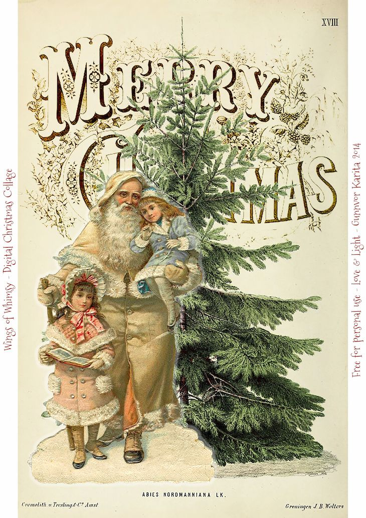 Vintage Digital Christmas Collages Day 11-12-13