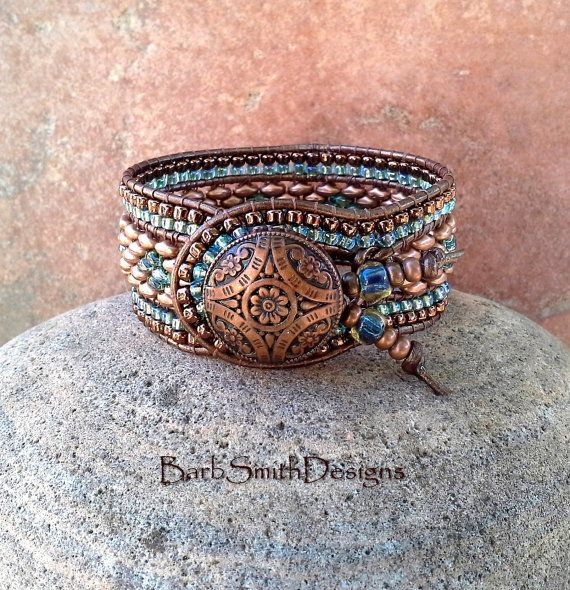 Copper Blue Beaded Leather Cuff Bracelet - The Indian Princess in Copper
