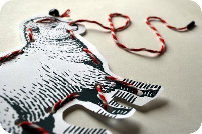 A dozen animal sewing cards