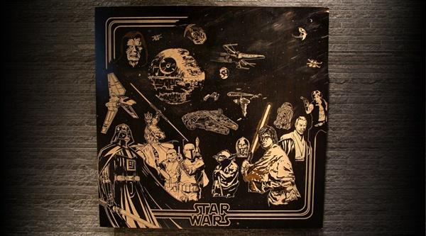 Star Wars by teokon  #woodcuts #starwars #anakin #luke #skywalker #darth #vader #yoda #chewbacca #obiwan #hansolo #deathstar #lightsaber