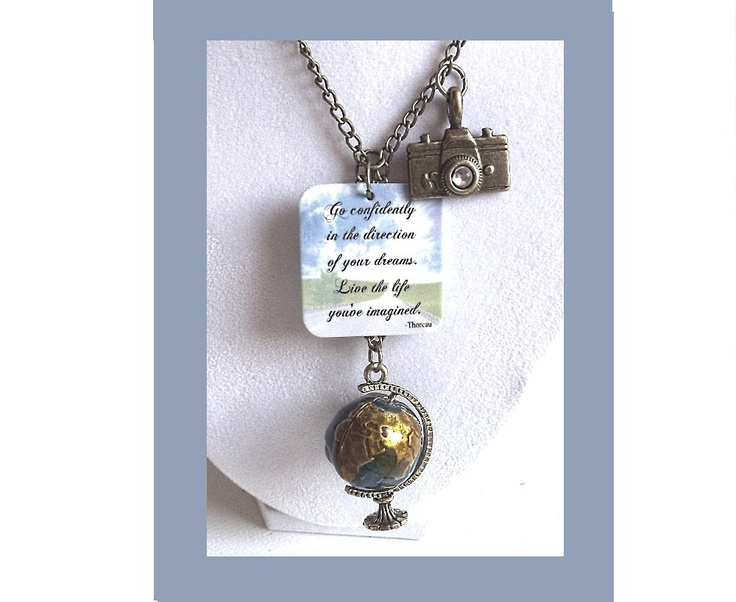 Globe Necklace -  Inspirational Quote Necklace -  Camera Travel Necklace - Camera Jewelry - High School or College Graduation Gift. $25.00, via Etsy.