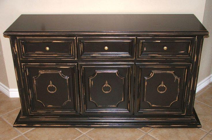black painted distressed furniture | Black Distressed Cabinet