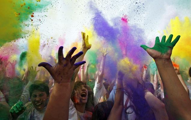 Holi Festival of Colors at theThe Krishna Temple in Spanish Fork