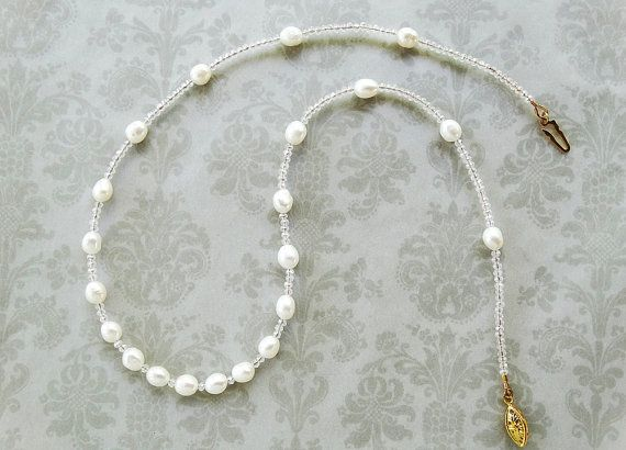 White Pearl Necklace Pearl Jewelry AB by AdornmentsByEloise