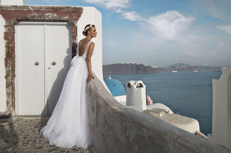 Νυφικα για καλοκαιρινο γαμο-Nυφικό Diane_ καλοκαιρι στην Σαντορινη