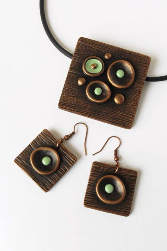 WildOnionArt -Jewelry set Polymer clay j