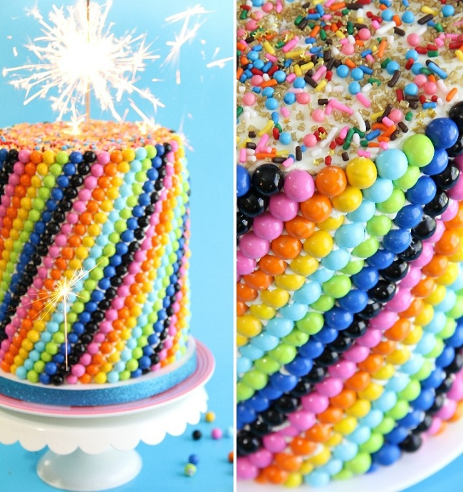 Sixlets Cake - would be fun to experiment with different candies